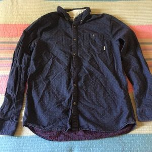 Vans XL Men Flannel Button Up Red Blue Long Sleeve